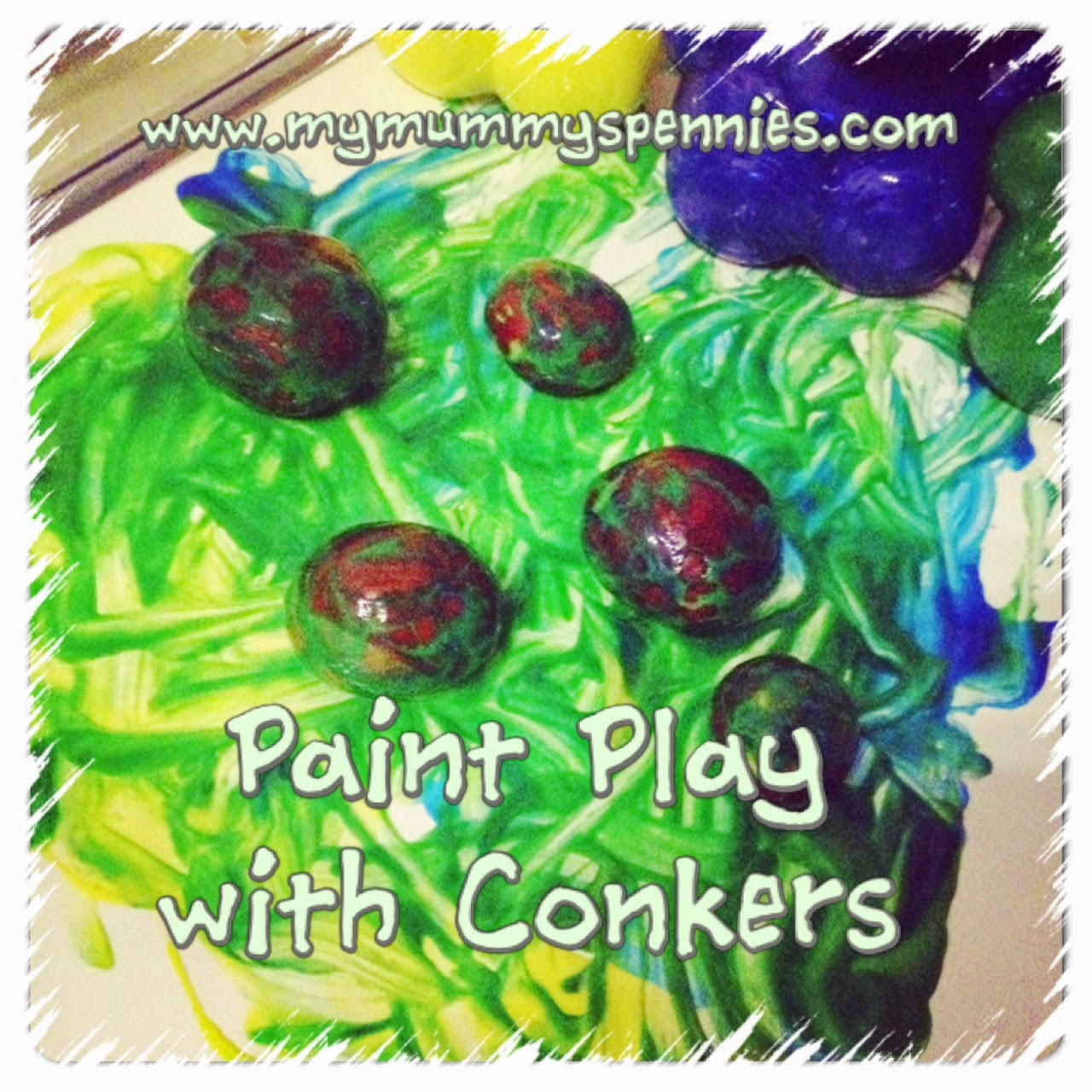 Paint Play with Conkers - messy play