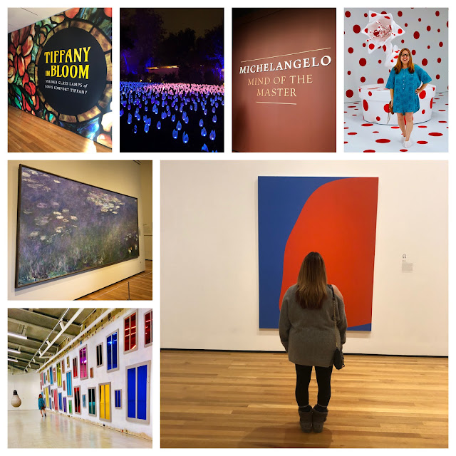 2019, New Year's Eve, New Year's wrapup post, 2019 wrapup, Jamie Allison Sanders, looking back on 2019, art museum, Cleveland Museum of Art, Michaelangelo, Tiffany Lamps, Marciano Art Foundation, art gallery, Ellsworth Kelly, Ugo Rondinone, Yayoi Kusama, Monet, Enchanted Forest of Light at Descanso Gardens