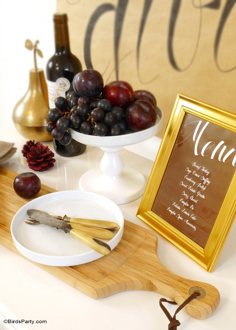 DIY Easy Calligraphy Thanksgiving Poster - BirdsParty.com
