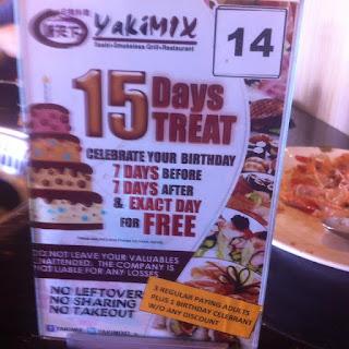 birthday promo at Yakimix in Cebu City, Philippines