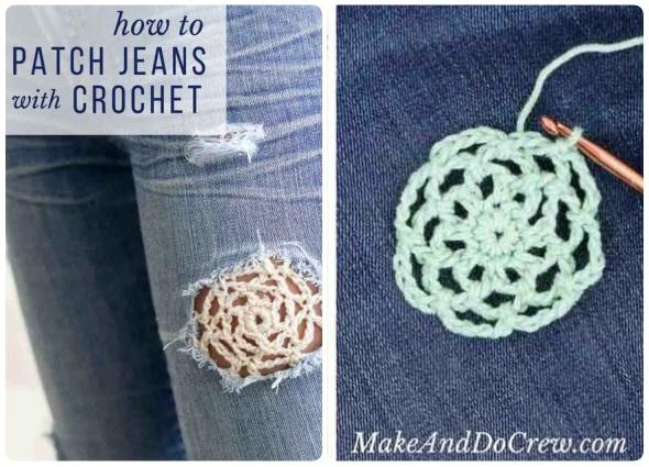 crochet mezclado con vaqueros, denim y crochet