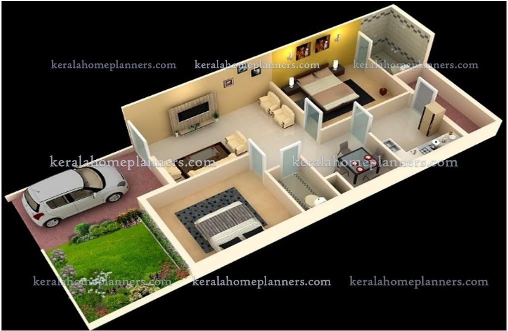 3 Simple 02 Bedroom Homes Ground Floor Plans 3d View
