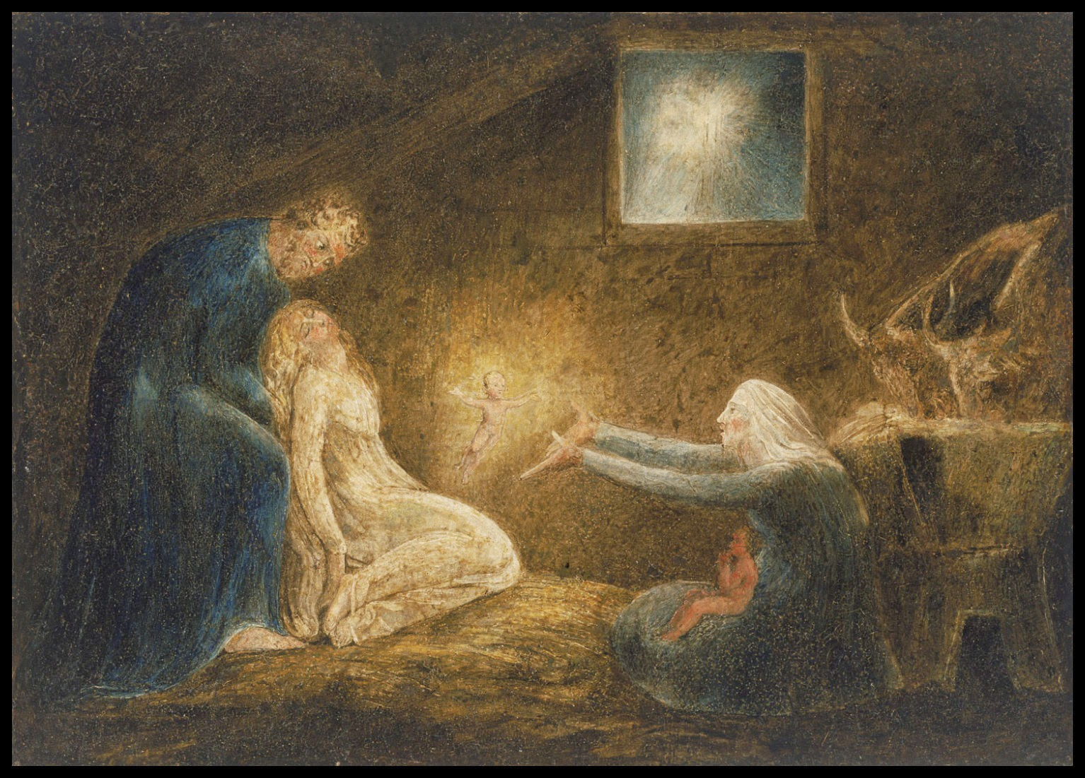 essays  the nativity by william blake 1799 or 1800 tempera on copper 10 3 4 x 15 1 16 in gift of mrs william thomas tonner 1964 philadelphia museum of art