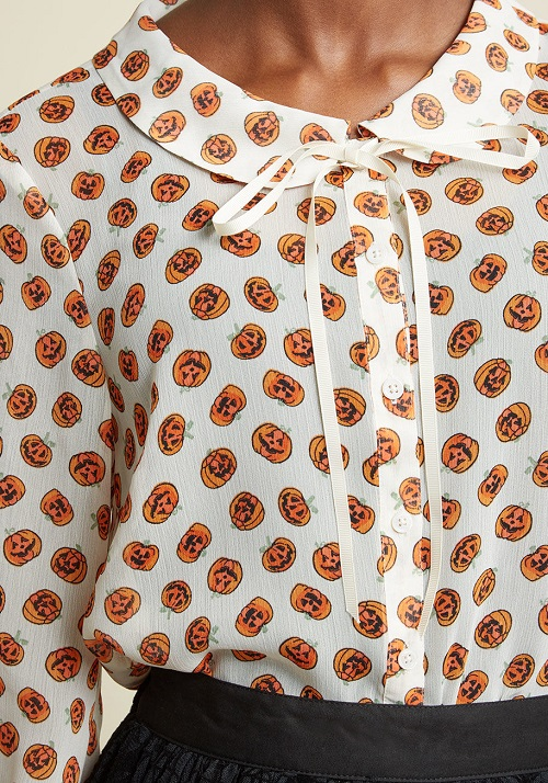 b580ea7b Sheer Button-Up Tie-Neck Top in Pumpkins - This jack-o-lantern blouse from  ModCloth is lovely, and is subtle enough to wear to work, even if you work  in a ...