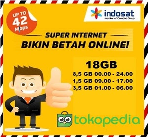 Kartu Perdana Internet indosat 18 GB