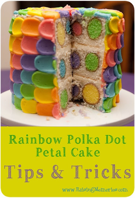 http://www.raisingmemories.com/2014/03/rainbow-polka-dot-petal-surprise-cake.html