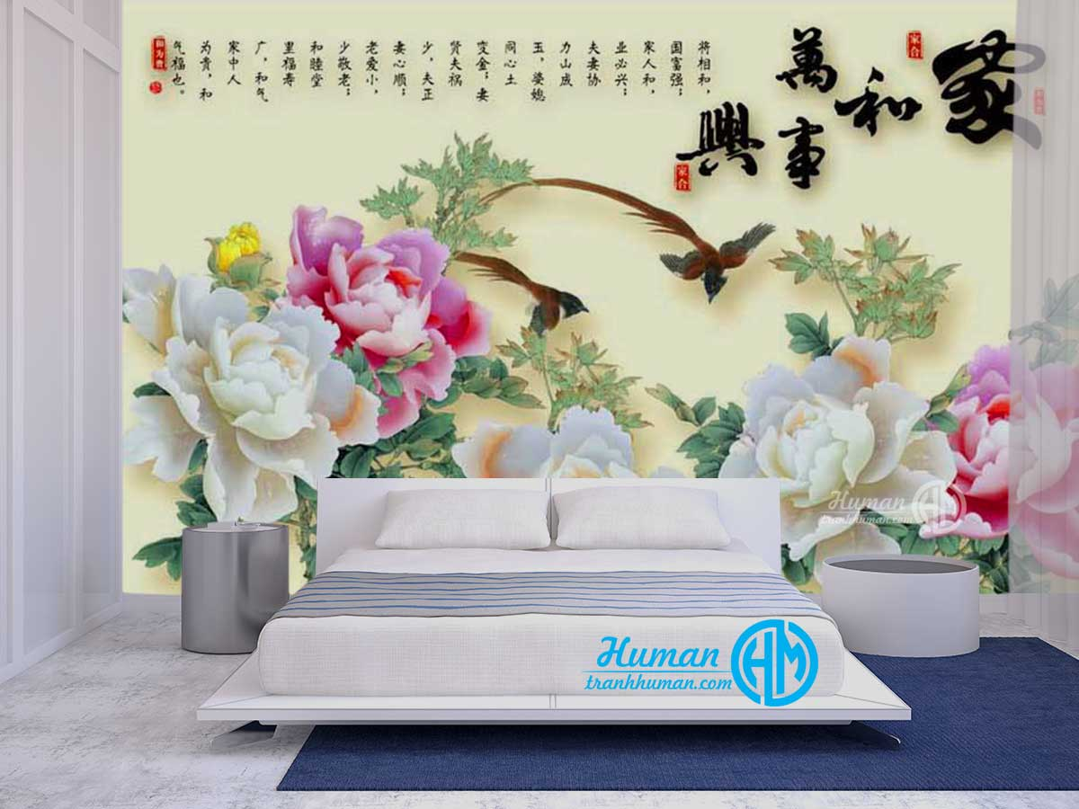 Tranh dán tường ngọc 3d hoa mẫu đơn đẹp