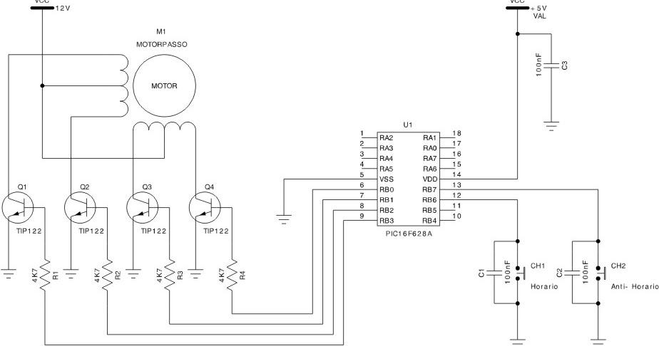 Microcontrolandos: Projeto 4: Step Motor (Motor de Passo)