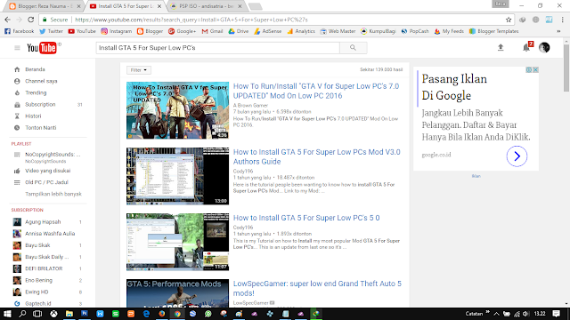 "Tulis kata kunci ""Install GTA 5 For Super Low PC's"""