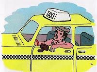 Chistes  Taxista testigo, un tipo regresa un día antes de un viaje de negocios, después de la media noche