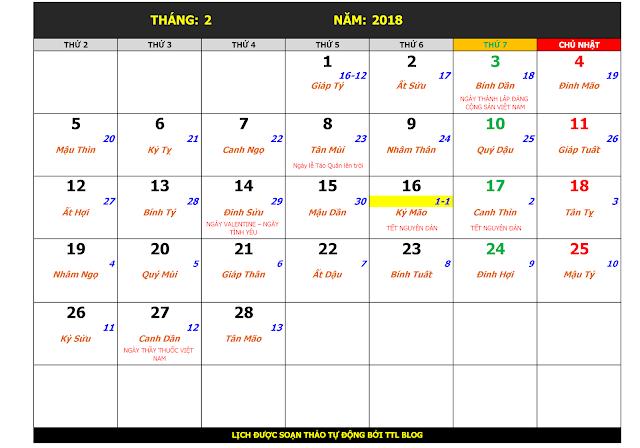 Lịch Vạn Sự Năm 2018 Tháng 2