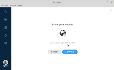 Keybase on Linux -- Prove Your Website. Fill in the blank.
