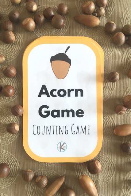 FREE Acorn Counting Game - this is such a fun free printable kindergarten math game to practice counting with a fun fall twist #kindergarten #kindergartenmath #counting