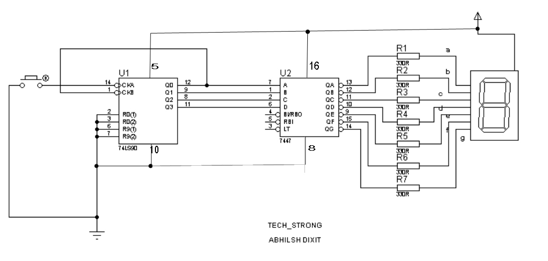 Tech_strong BASIC ELECTRONICS PROJECT 1- 7 SEGMENT DISPLAY COUNTER