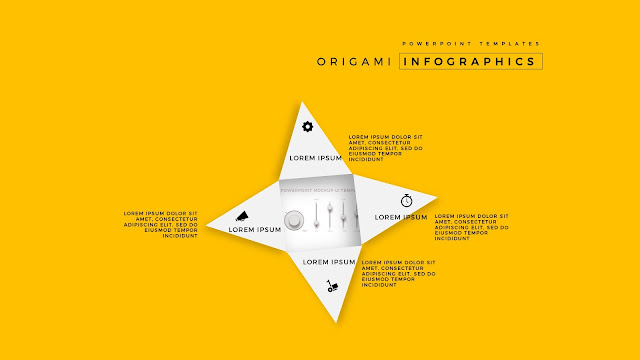 4 Icon options of Abstract Origami Infographics for PowerPoint Templates with Placeholder in Yellow Background