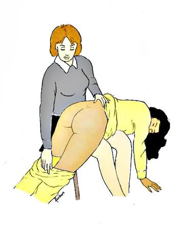 Baisser le pyjama pour une bonne fessée déculottée