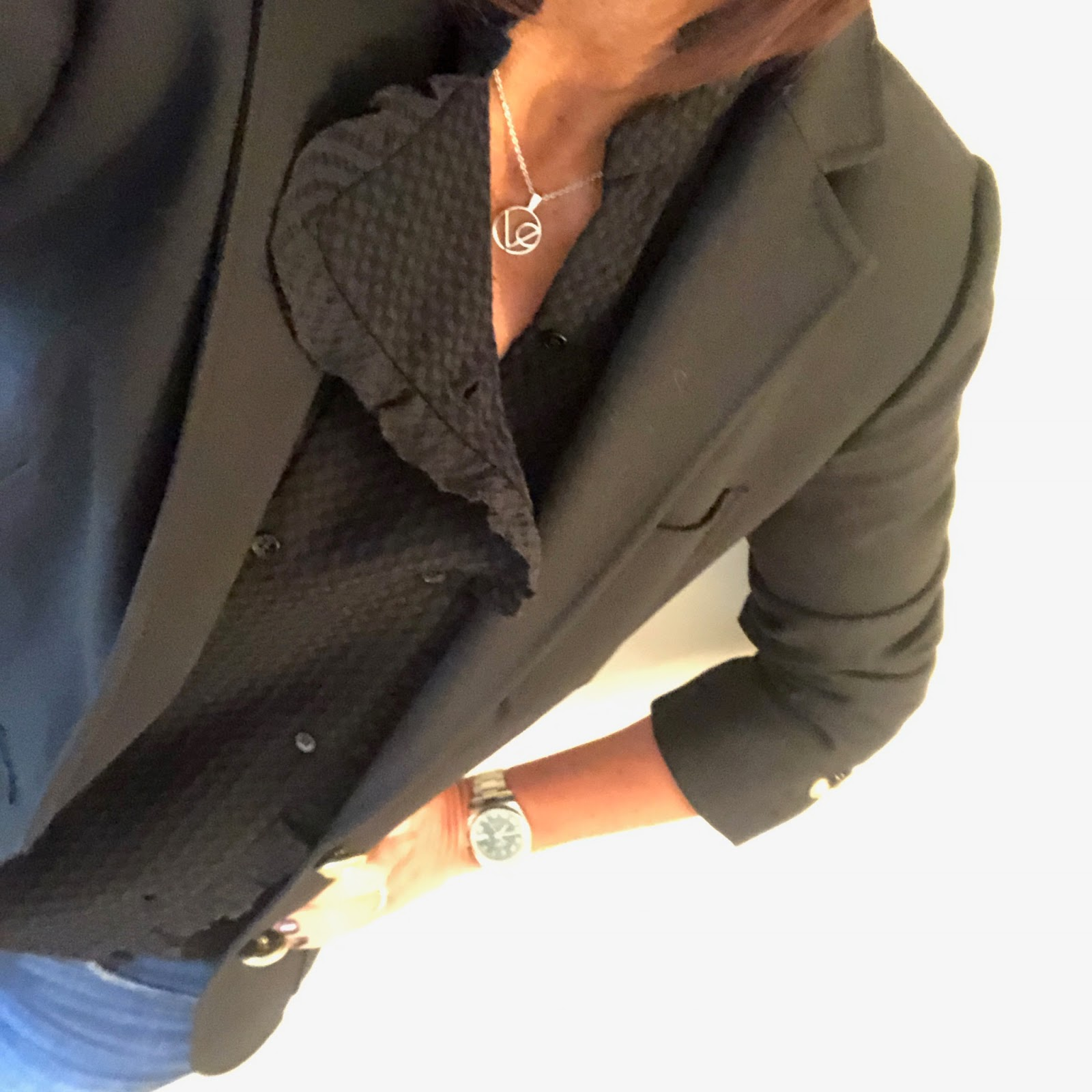 "my midlife fashion, j crew rhodes blazer, village england misterton necklace, Ba&sh blouse, j crew toothpick 8"" skinny jeans, the kooples studded belt, boden studded flat shoes"