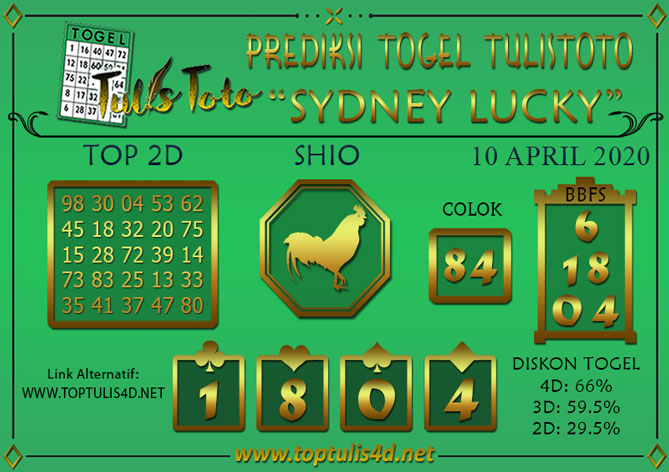 Prediksi Togel SYDNEY LUCKY TODAY TULISTOTO 10 APRIL 2020