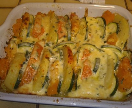 Pumpkin and zucchini gratin