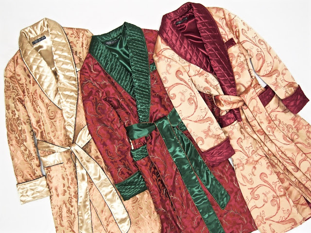 Mens luxury silk dressing gown quilted robe paisley english smoking jacket gentleman