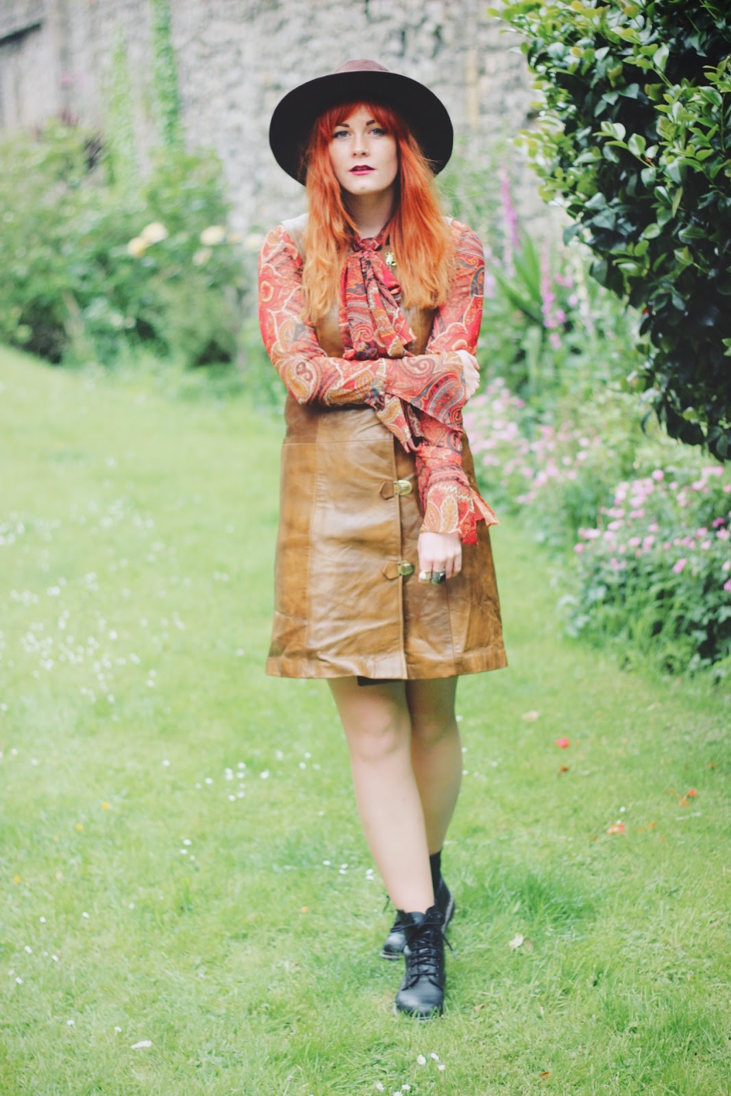 Beyond Retro Vintage Leather 70s Buckle Dress