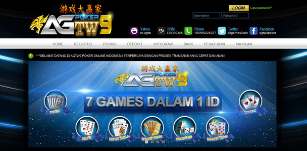 AGTW9.COM AGEN JUDI POKER | BANDAR Q | DEWA POKER | DOMINO DAN CAPSA SUSUN ONLINE TERPERCAYA INDONESIA