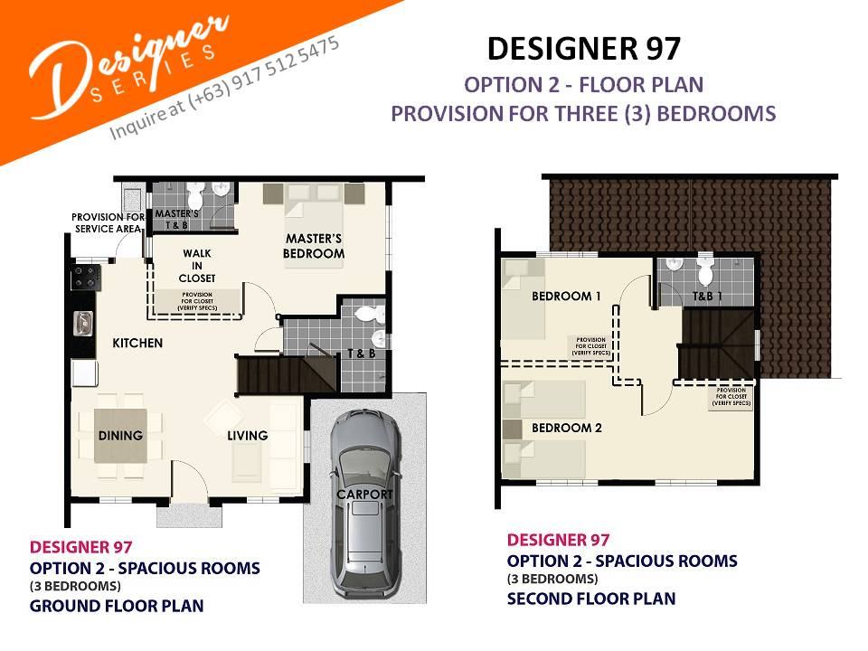 Option 2 - Floor Plan of Citta Italia - Designer 97 With Balcony | House and Lot for Sale Molino Bacoor Cavite