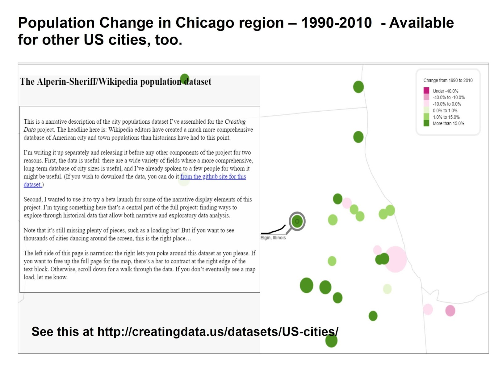 here s another map that i learned about from my chihacknight network this shows population changes in us cities from 1990 to 2010
