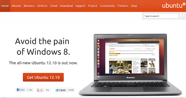 avoid the pain of windows 8, download ubuntu 12.10