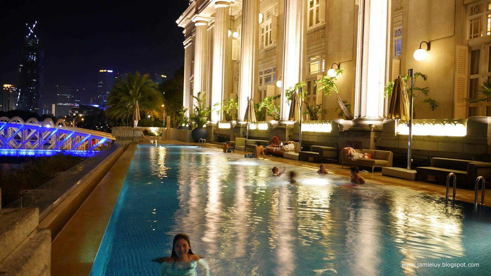 Swimming Pool at Night, Fullerton Hotel, Singapore