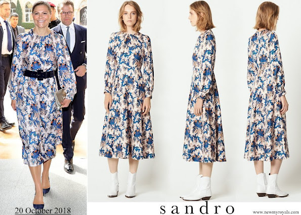 Crown Princess Victoria wore Sandro all over print silk dress