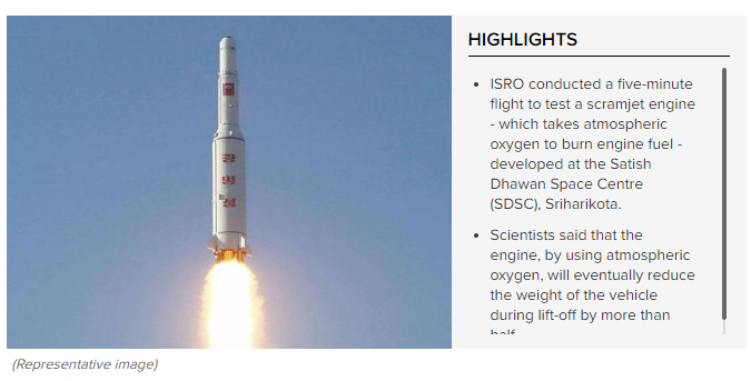 ISRO successfully tests scramjet engine using oxygen from