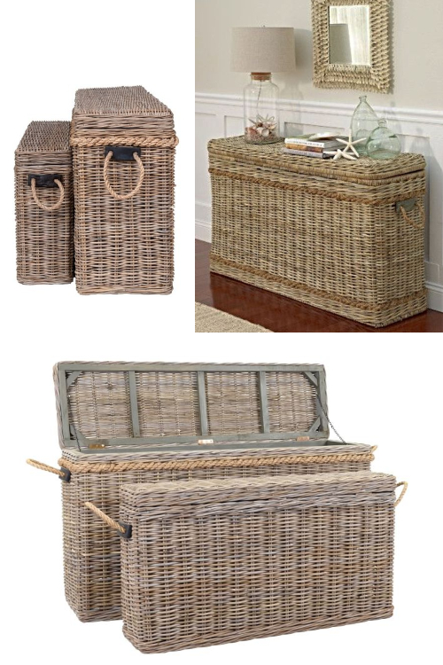 Narrow Rattan Storage Trunk Baskets