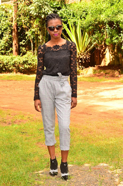 How To Wear A Black Lace Top With Grey Plaid Pants