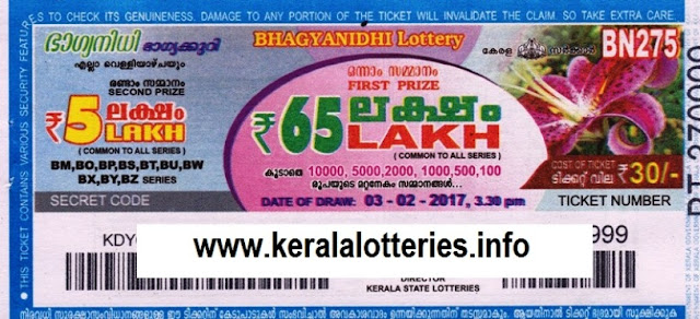 Kerala lottery result official copy of Bhagyanidhi (BN-85) on 17 May 2013