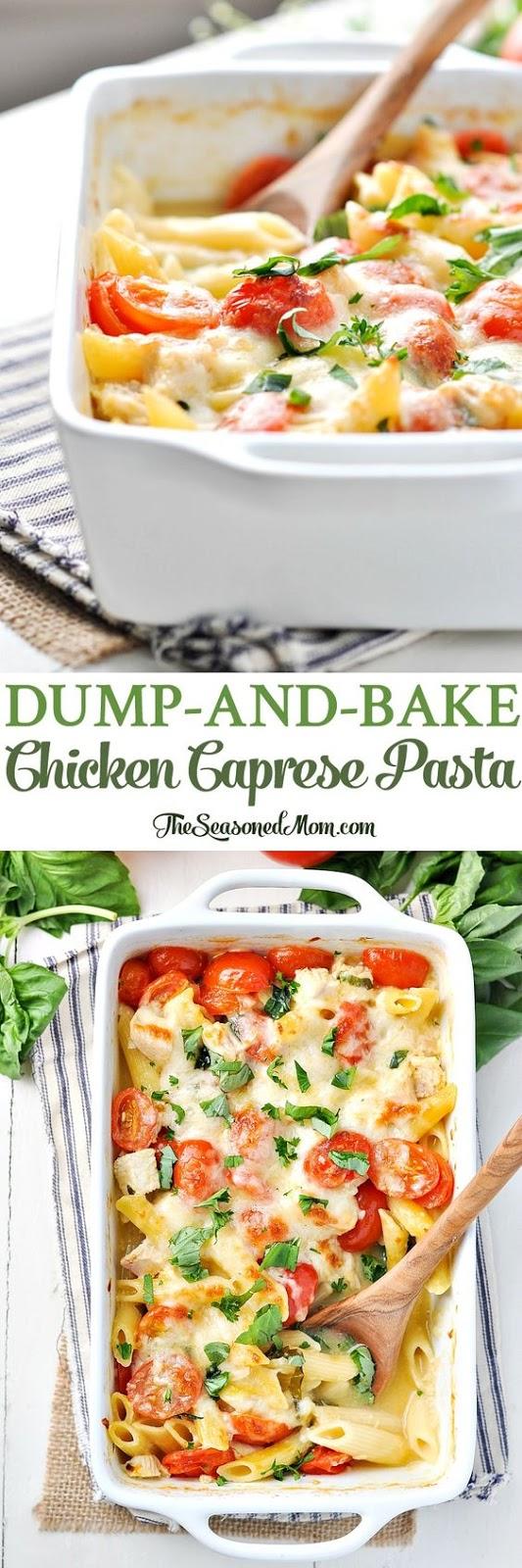 DUMP-AND-BAKE CHICKEN CAPRESE PASTA
