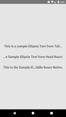 React Native Ellipsis Text From End, Start, Middle Android/iOS