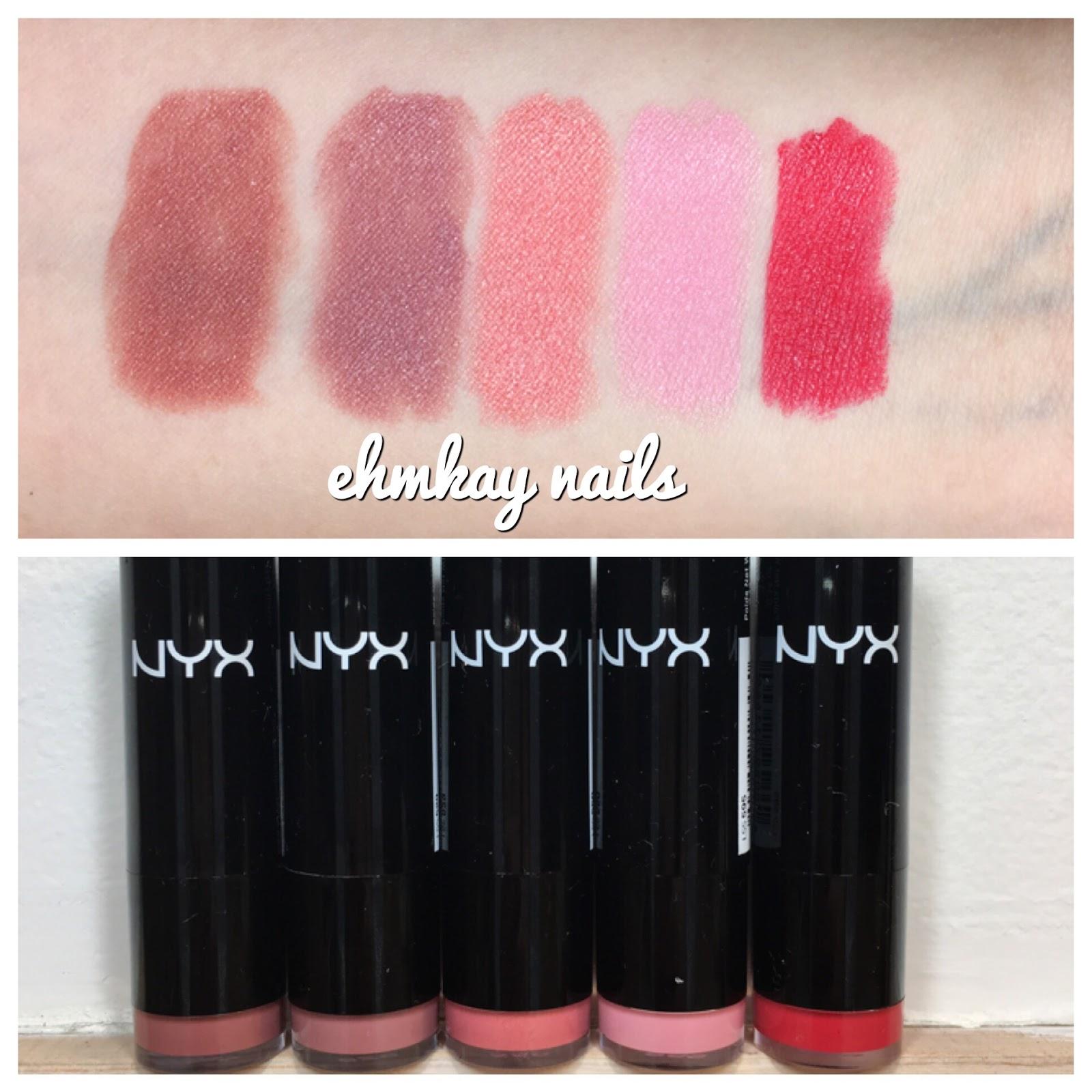 Ehmkay Nails Nyx Extra Creamy Round Lipsticks Swatches