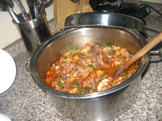 Nigerian beef sauce in a cooking pot