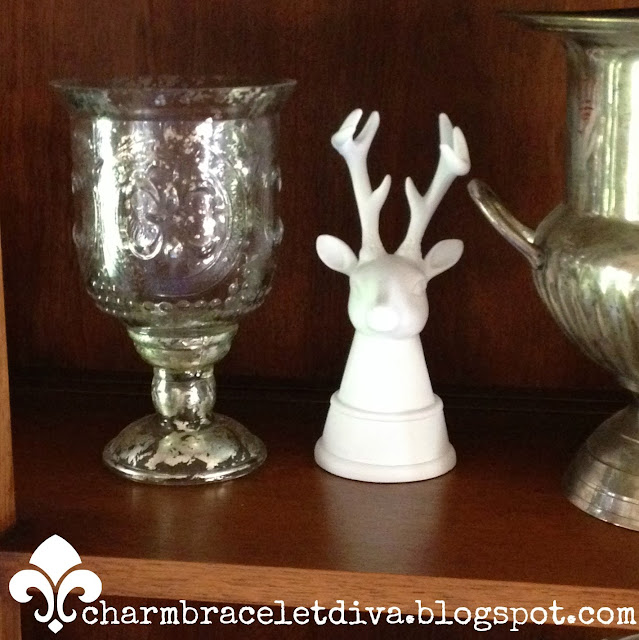 mercury glass hurricane white deer bookends