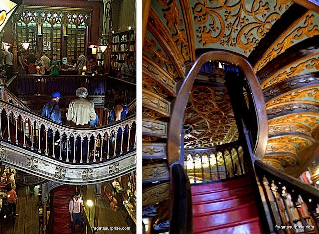 Interior da Livraria Lello & Irmão, Porto, Portugal