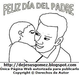 Dibujo por el Día del padre de un papá recibiendo un beso de su hijo . Dibujo hecho por Jesus Gómez