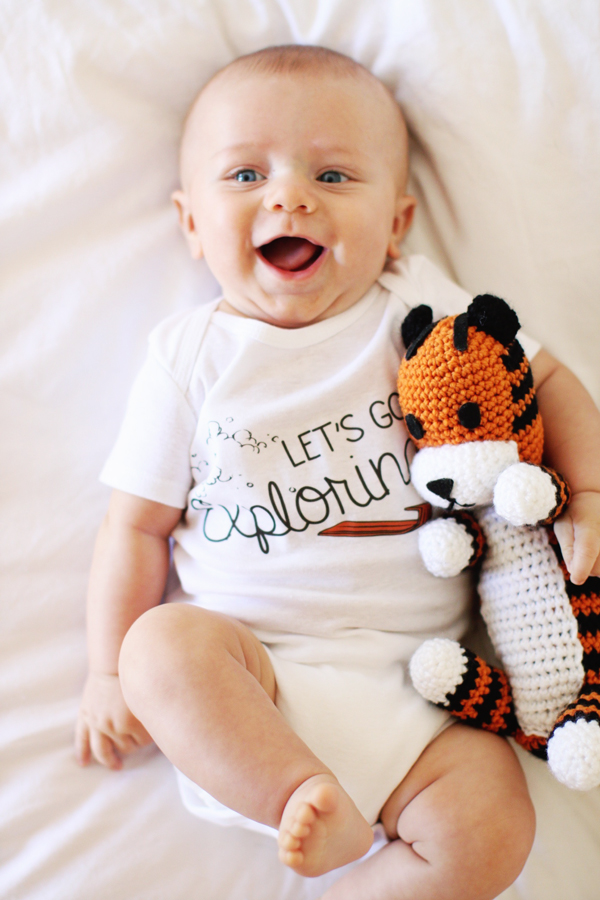 3 months old - Let's Go Exploring Calvin & Hobbes onesie