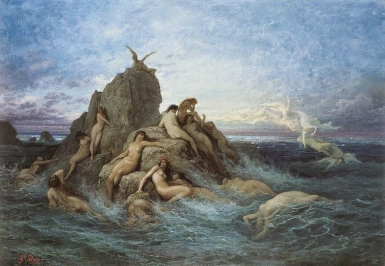 Náiades do Mar - Gustav Doré e suas pinturas ~ Pintor, desenhista e inlustrador francês