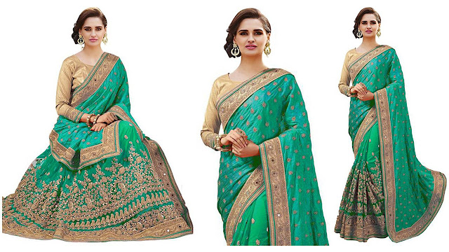 IndianEfashion Self Design, Embroidered Bollywood Georgette, Net Saree  (Green)