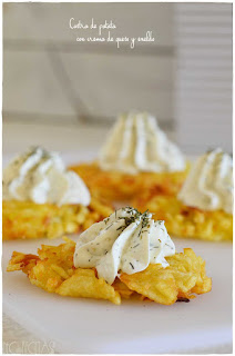 Receta de Costra de patata con crema de queso y eneldo