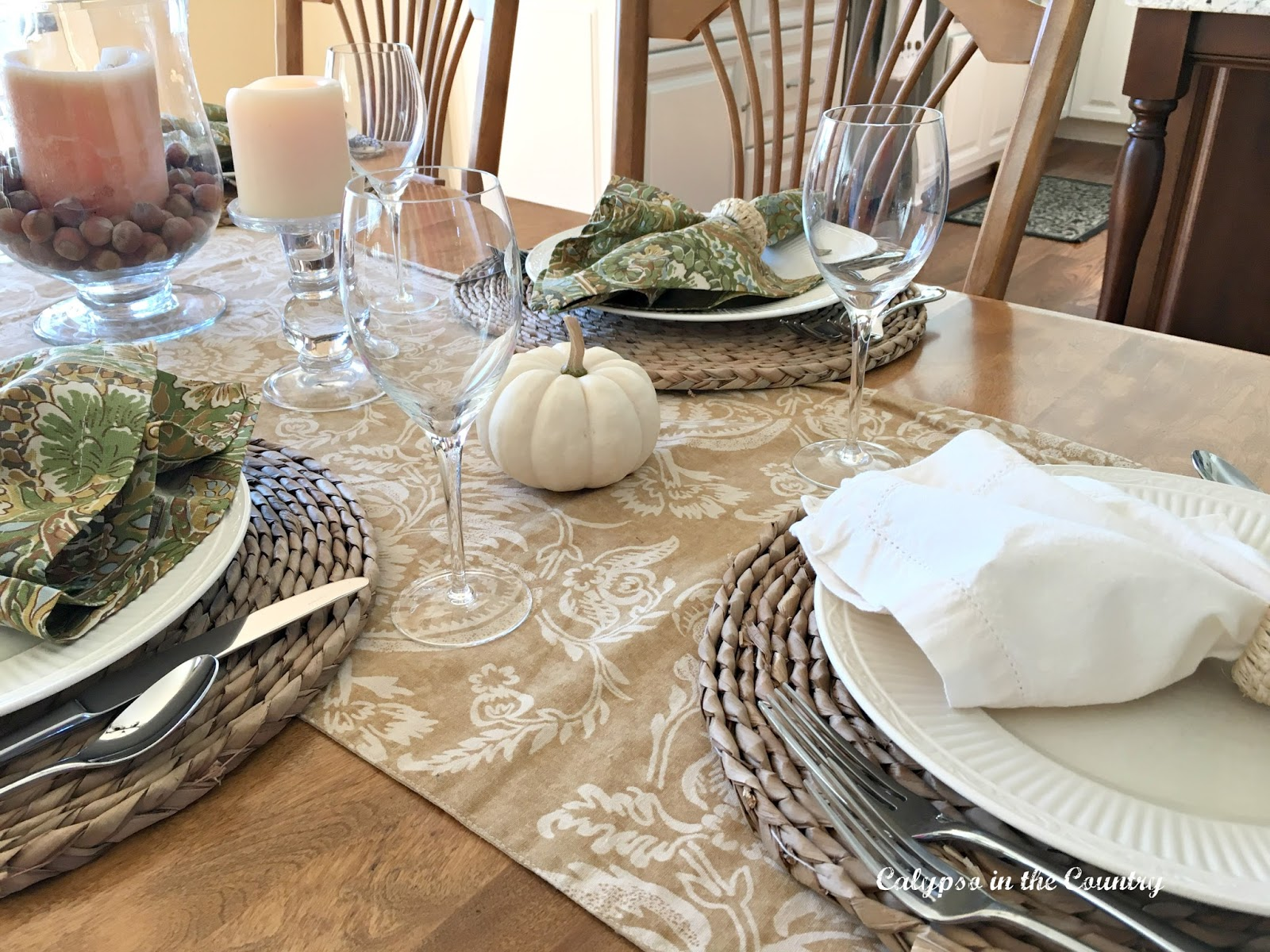 Autumn Table with White Pumpkins