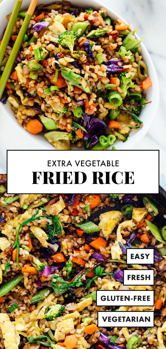 Extra Vegetable Fried Rice #vegetables #fried #rice #vegetarian #vegetarianrecipes #vegetariandinnerrecipes #veggies Desserts, Healthy Food, Easy Recipes, Dinner, Lauch, Delicious, Easy, Holidays Recipe, Special Diet, World Cuisine, Cake, Grill, Appetizers, Healthy Recipes, Drinks, Cooking Method, Italian Recipes, Meat, Vegan Recipes, Cookies, Pasta Recipes, Fruit, Salad, Soup Appetizers, Non Alcoholic Drinks, Meal Planning, Vegetables, Soup, Pastry, Chocolate, Dairy, Alcoholic Drinks, Bulgur Salad, Baking, Snacks, Beef Recipes, Meat Appetizers, Mexican Recipes, Bread, Asian Recipes, Seafood Appetizers, Muffins, Breakfast And Brunch, Condiments, Cupcakes, Cheese, Chicken Recipes, Pie, Coffee, No Bake Desserts, Healthy Snacks, Seafood, Grain, Lunches Dinners, Mexican, Quick Bread, Liquor