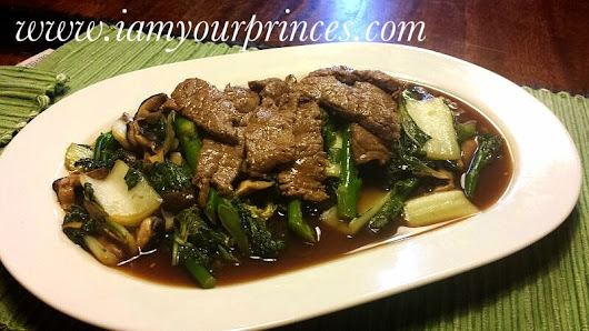 Restaurant style: Chinese greens,Spinach and Stir fry beef in oyster sauce