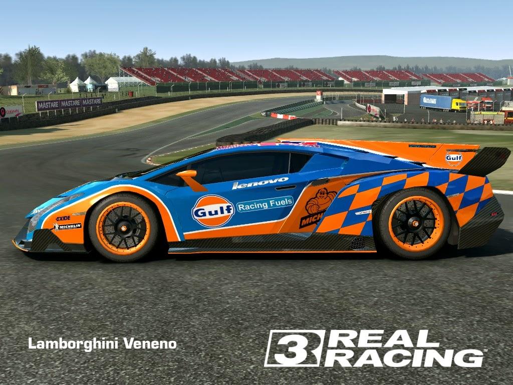 Lamborghini Veneno Livery >> REAL RACING 3 SKIN: 2013_lamborghini_veneno-SKIN GULF - LAMBORGHINI VENENO (HD LIVERY) by Tanto Arc
